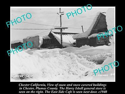 Old Large Historic Photo Of Chester California, The Main Street Under Snow 1940