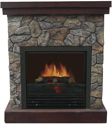26in Electric Stone Fireplace w/Mantle Adjustable Flame Fire Place Space Heater