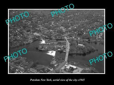 OLD LARGE HISTORIC PHOTO OF POTSDAM NEW YORK, AERIAL VIEW OF CITY c1945