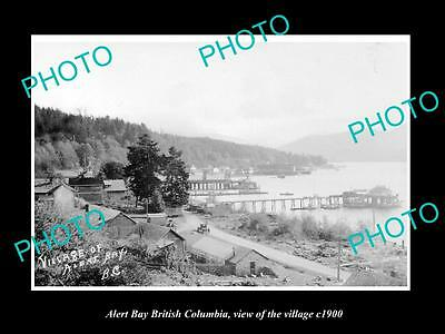 Old Large Historic Photo Of Alert Bay British Columbia, View Of The Village 1900