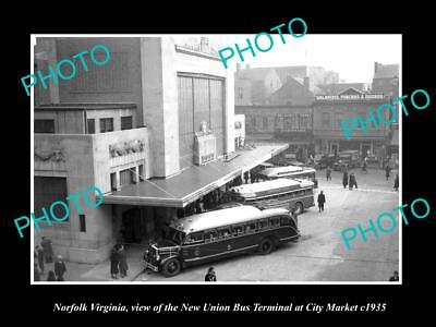 OLD LARGE HISTORIC PHOTO OF NORFOLK VIRGINIA, THE  UNION BUS TERMINAL c1935
