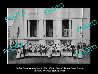 OLD LARGE HISTORIC PHOTO OF DALLAS TEXAS, THE KU KLUX KLAN DRUMS CORPS c1930