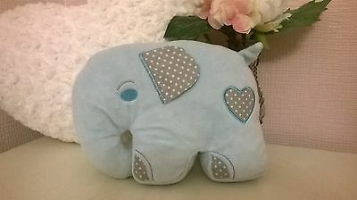 Cute blue elephant cushion polka dot heart baby boy nursery gift BNWT