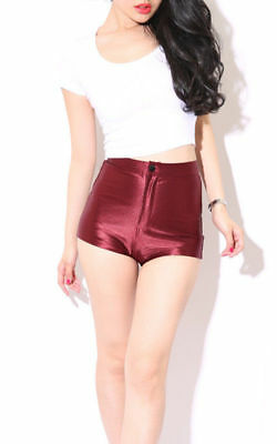 Womens/ladies High Waisted American Shiny Disco Style Shorts/hot Pants