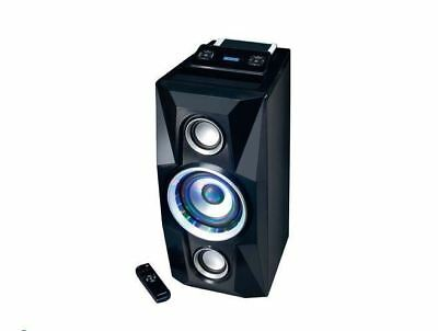 Bluetooth Large Speaker Black LCD Display USB AUX FM LED Remote Audio Party Musi