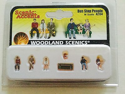 Woodland Scenics Accents 1/160 N Scale Bus Stop People # A2134 Factory Sealed
