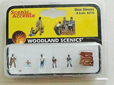 Woodland Scenics Accents 1/160 N Scale Shoe Shiners Item # A2176 Factory Sealed