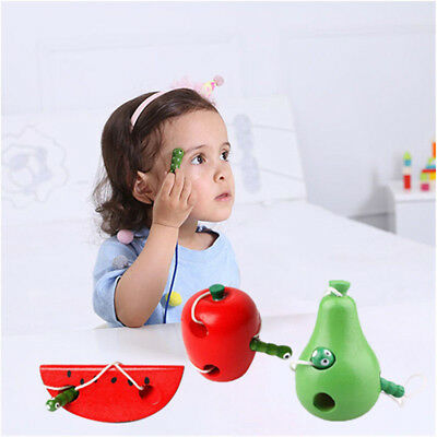 Creative Threading Kids Puzzle Lacing Fruit Wooden Toy Children Game Infant Wood