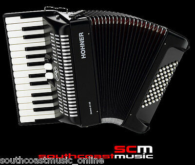 New Hohner Bravo 2 Ii 48 Bass Piano Accordion Black Finish With Case & Straps