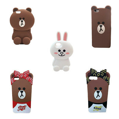 For iPhone 6/6S/7/8 Plus 3D Soft Silicon Line Cute Bear Brown Bunny Cony Case