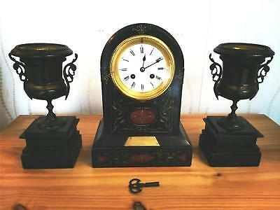 Stunning French Japy Freres Antique Slate & Marble Mantel Clock & Garnitures