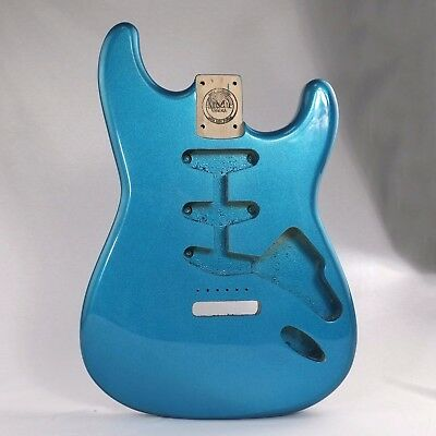 MAKA Blue Flake Finish Guitar Body Replacement SSS Routing for Strat