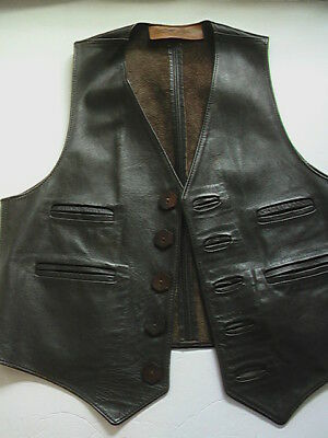 Vintage Walter Dyer Leather Vest Mens S M Made In New England 1960's USA Brown