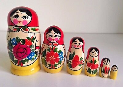 6 RUSSIAN STACKING TRADITIONAL MATRYOSHKA DOLLS/SEMENOVO/RED SHAWL/13.5cm/ 5.0in
