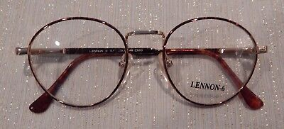 Vintage Lennon-6 by Conti Tort/Gold 48/20 P3 Round Metal Eyeglass Frame NOS #202