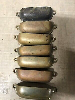 """Lot of 7 vintage stamped aged Brass cup bin drawer pull handle 3-7/8"""""""