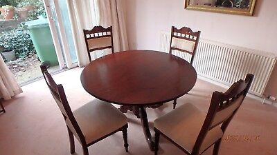 Antique Edwardian Mahogany Tilt Top Dining Table and 4 chairs