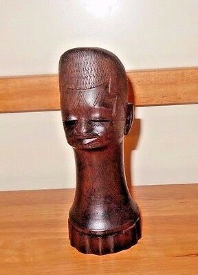 Antique Head hand-carved Solid Iron wood Beautiful Grain from Quelimane ~Signed