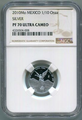 NGC-PF70 UltraCameo 2010-Mo Proof 1/10-ONZA Silver LIBERTAD - Low Mintage