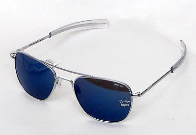 RANDOLPH OCCHIALI DA SOLE mod:AVIATOR 55 AF54668PC MATT CHROME lente MIRROR BLUE