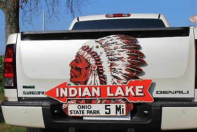 Large Indian Lake Ohio State Park Porcelain 5 Miles Street Sign Gas Oil Ford