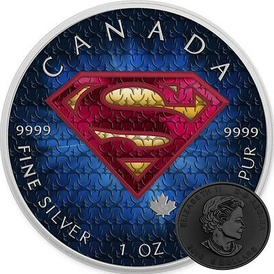 SUPERMAN SUIT - 1 oz Pure Silver Coin Color & Black Ruthenium 2016 IN HAND