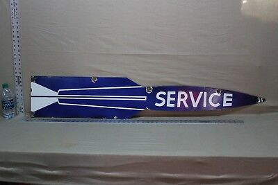 "52""  Pontiac Cars Service Rocket 2-Sided Porcelain  Sign Gas Oil Ford Texas Dog"