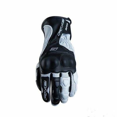 NEW FIVE FIVE5 RFX4 AIRFLOW VENTED LEATHER Motorcycle GLOVES BLACK WHITE - SALE