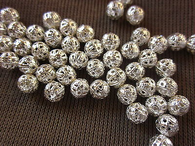 50 Filigree Spacer Beads 6mm Silver Coloured #sp167