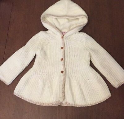 Ted Baker Baby Girl Thick Knitted Chunky Cardigan With Hood 9-12 Months - Winter