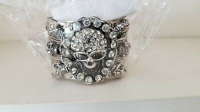 Men's Silver Crystal Rhinestone seven Skull Cuff Bangle Bracelet
