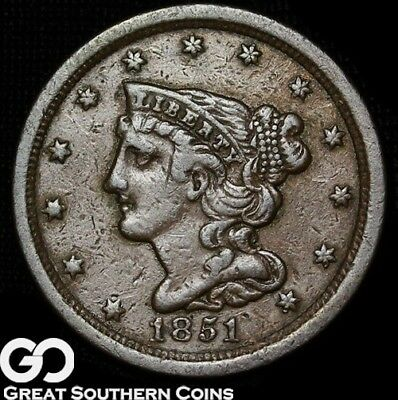 1851 Half Cent, Braided Hair, Small Date Variety