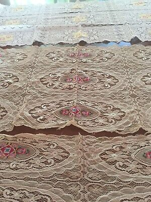 Antique Net Lace Runners Silk Embroidery