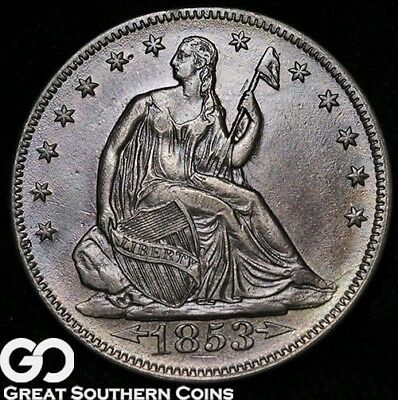 1853 Seated Liberty Half Dollar, With Arrows and Rays, Tough Date, Choice AU+++