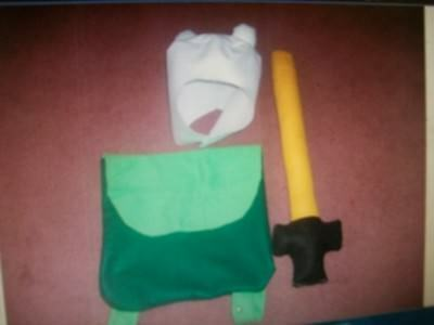 Adventure time finn hat bag and sword costume