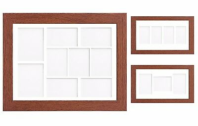 Walnut Multi Aperture Photo Picture Frame & Mount With Choice Of 23 Mount Design