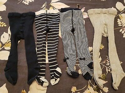 Next navy / white / grey tights bundle 12-18 months