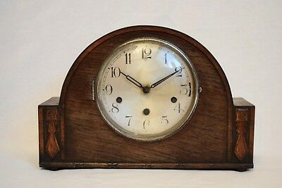 VINTAGE 1930s HALLER ART DECO STYLE THREE TRAIN TWIN/ DOUBLE CHIME MANTEL CLOCK