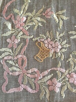 Antique Net Lace Runner Ribbon Embroidery
