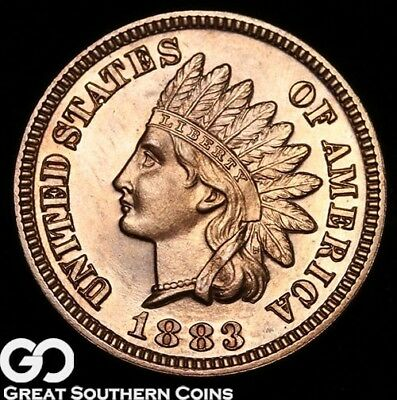 1883 Indian Head Penny PROOF, RED Gem PF ** Free Shipping!