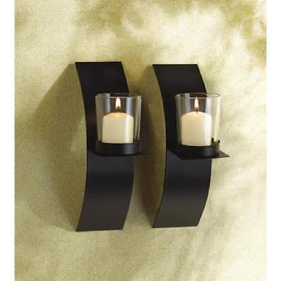 New Set of 2 Black Metal Modern Wall Sconces Candle Holders Mod Pair 39066
