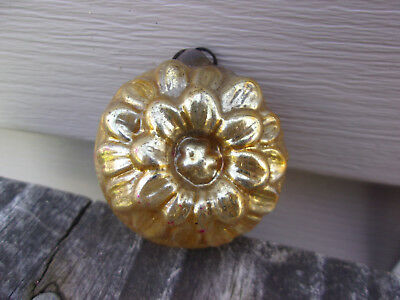 Antique Gold Glass SUNFLOWER Christmas ORNAMENT, Very Old Flat Top Cap