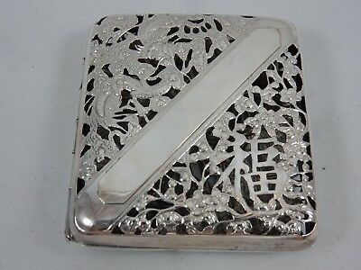 CHINESE, solid silver CIGARETTE CASE, c1900, 113gm