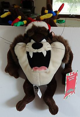 Warner Brothers 1999 Taz Reindeer bean bag plush figure-New-w/tags-antler lights