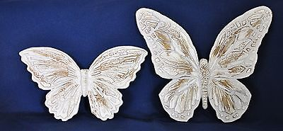 Pair of Vintage 1971 HOMCO Gold & White Butterflies Wall Decor