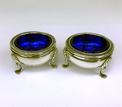 Pair Fisher Sterling Silver Open Salt Dishes w/ Cobalt Glass Inserts