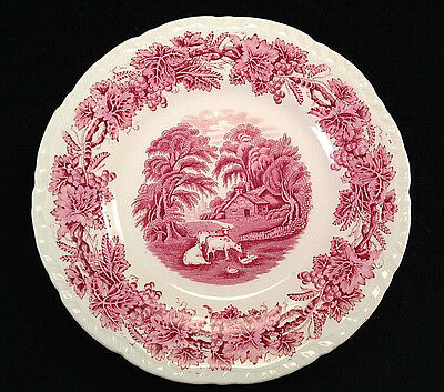 Pink Transferware BRITISH SCENERY by Booths Bread Butter Plate