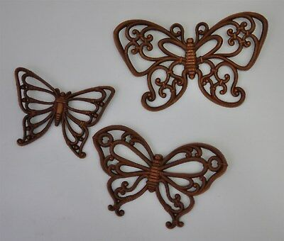 Vintage 1978 Set of 3 Homco Dart Ind. Faux Wicker Butterfly Wall Decor #7537