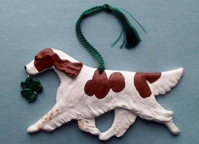 Red and White Setter w/Shamrock Charm -Artist sculpted Dog Breed Ornament