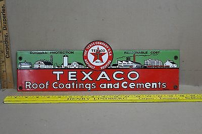 Neat Texaco Roof Coatings &  Cement Porcelain Sign Gas Oil Texas Ford 66